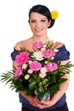 розы удерживания florist расположения красивейшие стоковое фото