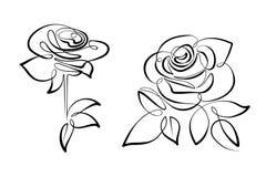 Розы цветков вектора черно-белые стоковое изображение