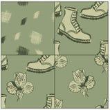 розы grunge ботинок предпосылок безшовные иллюстрация вектора