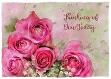 Розы Watercolour думая вас приветствие Стоковые Изображения