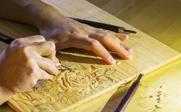 Розы Woodcarving Стоковые Фото