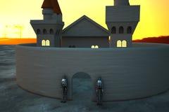 Рокируйте в свете захода солнца с панцырями в защиту двери Стоковое Фото