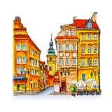 Рокируйте квадрат в утре, Варшаву, Польшу Стоковое фото RF