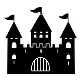 Рокируйте силуэт, плоский значок, логотип, план, контур, иллюстрацию вектора, черно-белый чертеж Дворец формы с 3 башнями бесплатная иллюстрация