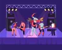 Рок-группа выполняя на этапе Электрические гитаристы, барабанщик, певица, концерт музыки трубача Художники людей в тряся обмундир иллюстрация вектора