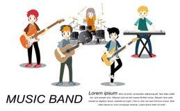 Рок-группа музыкантов, гитара игры, певица, гитарист, барабанщик, сольный гитарист, басист, рок-группа оператора также вектор илл бесплатная иллюстрация