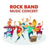 Рок-группа шаржа подростковая Иллюстрация вектора предпосылки концерта музыки концепции Стоковая Фотография