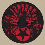 Рок-звезда барабанщика в круге Grunge Стоковое фото RF