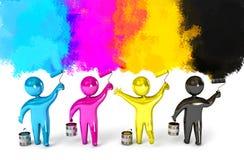 Ролик краски и ведро. Принципиальная схема CMYK Стоковые Фотографии RF