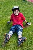 ролик мальчика лезвий счастливый стоковые изображения