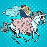 Романс влюбленности белой лошади жениха и невеста wedding Стоковое Изображение RF