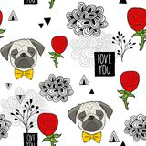 Романтичная безшовная картина с милыми мопсами и красными розами бесплатная иллюстрация