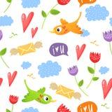 Романтичная безшовная картина с птицами, сердцами, цветками, облаками, s Стоковые Изображения