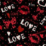Романтичная безшовная картина с сердцами, смычки и знак любят иллюстрация вектора