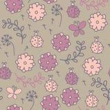 Романтичная безшовная картина с ladybugs, цветки,  Стоковые Изображения