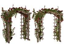 Романтичная беседка с красными розами Стоковые Изображения