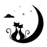 Романтичная встреча иллюстрации monochrome котов Стоковые Фото