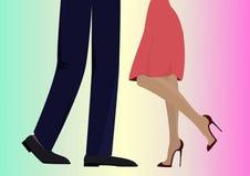 Романтичная встреча Плоская схематическая иллюстрация носить пар Стоковое Изображение RF
