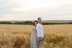 Романтичная дата на луге лета, пара влюбленности обнимает Стоковые Изображения RF