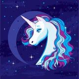 Романтичная иллюстрация с единорогом на предпосылке луны и звёздного неба Стоковые Изображения