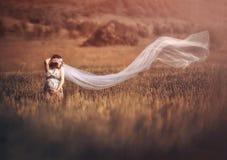 Романтичная и красивая беременная женщина снаружи внутри Стоковые Изображения RF