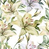 Романтичная картина с лилиями и розами цветков Иллюстрация вектора