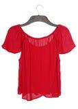 Романтичная красная блузка на одежд-вешалке Стоковое Изображение RF