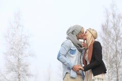 Романтичная осень пар Стоковая Фотография
