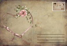 Романтичная открытка сбора винограда иллюстрация штока