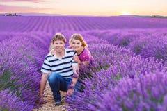 Романтичная пара в влюбленности в лаванде fields внутри Стоковые Изображения RF