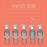 Романтичная поздравительная открытка с милыми собаками и сердцами Стоковые Фотографии RF