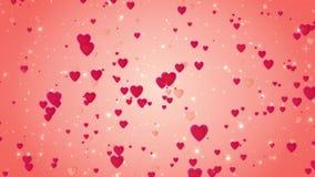 Романтичная предпосылка красного цвета свадьбы Движение красных сердец белизна символа красного цвета влюбленности предпосылки ро видеоматериал