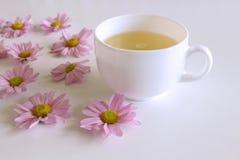 Романтичная предпосылка с чашкой кофе с розовым Leucanthemum цветет над белой таблицей Мягкое фото Стиль поздравительной открытки Стоковые Фото