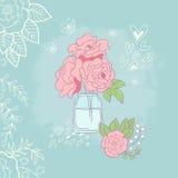 Романтичная предпосылка с розами Стоковые Изображения RF