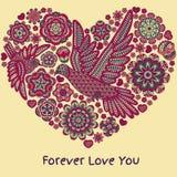 Романтичная предпосылка с цветками и птицами изолированная сердцем белизна томата формы Стоковое Изображение