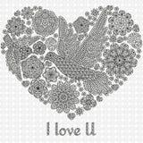 Романтичная предпосылка с цветками и птицами Стоковые Фото