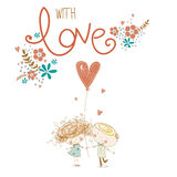 Романтичная принципиальная схема Любящие мальчик и девушка с красным сердцем соедините влюбленность также вектор иллюстрации прит иллюстрация вектора