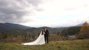Романтичная прогулка свадьбы в красивых золотых горах Без сокращений взгляд стильных новобрачных нежно обнимая сток-видео