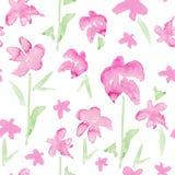 Романтичная розовая флористическая безшовная картина - цветки акварели хрупкие Стоковое Изображение RF