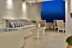 Романтичная роскошная квартира Santorini, острова Кикладов Греция Стоковые Фото