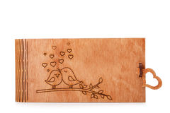 Романтичная, симпатичная коробка для поставки Деревянная клеть при изображение изолированное на белой предпосылке Коробка для игр Стоковые Фото