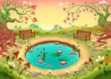 Романтичная сцена в парке иллюстрация вектора