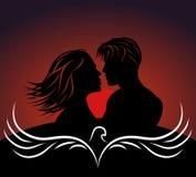 Романтичная темнота картин - красная предпосылка, заход солнца Стоковые Изображения