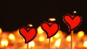 Романтичная форма сердца света свечи акции видеоматериалы