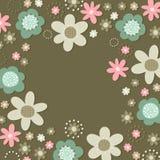 Романтичная флористическая ботаническая карточка рамки на темноте Стоковая Фотография RF