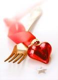 Романтичное красное украшение сердца Стоковое Изображение