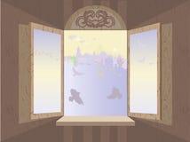 романтичное окно Стоковая Фотография RF