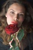 романтичное портрета повелительницы beautifil красное подняло Стоковые Фотографии RF