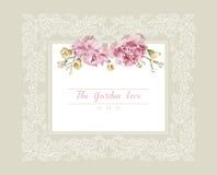 Романтичное приглашение свадьбы Винтажная карточка с розовыми и желтыми цветками и флористической белой рамкой плана иллюстрация вектора