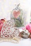Романтичное украшение в винтажном стиле на валентинки или день свадьбы стоковое изображение